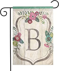 """Classic Floral Monogram B Family Party Outdoor Yard House Garden Flags 12""""X18"""" Semi Transparent Polyester Fiber Decorative"""