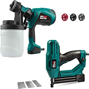 Electric Brad Nailer(1/4'' Narrow Crown Staples 400pcs and Nails 100pcs Included) and Paint Sprayer with 3 Spray Patterns, 3 Nozzles, NEU MASTER