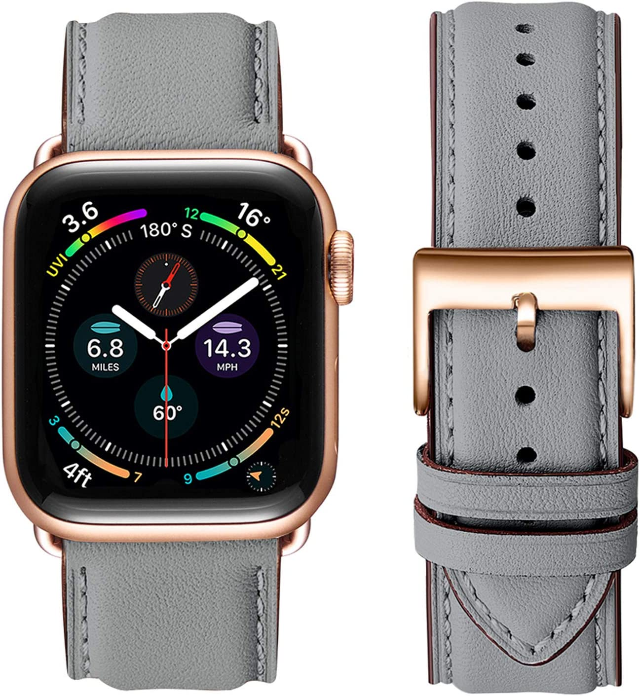 OMIU Square Bands Compatible for Apple Watch 38mm 40mm 42mm 44mm, Genuine Leather Replacement Band Compatible with Apple Watch Series 6/5/4/3/2/1, iWatch SE (Gray/Rose Gold Connector, 38mm 40mm)