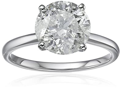 diamond solitaire in 18k white gold engagement ring 3 carat hi color i3