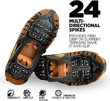 Quad Trek Tacos de tracción para Todo Terreno | Ideal para Nieve, Senderismo, Senderismo y Barro | Compatible con Todos los Zapatos, Botas, Zapatillas, Sandalias y Mocasines: Amazon.es: Deportes y aire libre