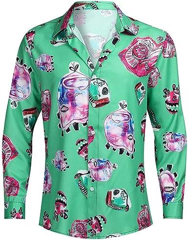ღLILICATღ Navidad Camisa De Manga Larga, Los Hombres Copos De Nieve Casual Santa Candy Impresa Camisa De Navidad Blusa Superior: Amazon.es: Ropa y accesorios