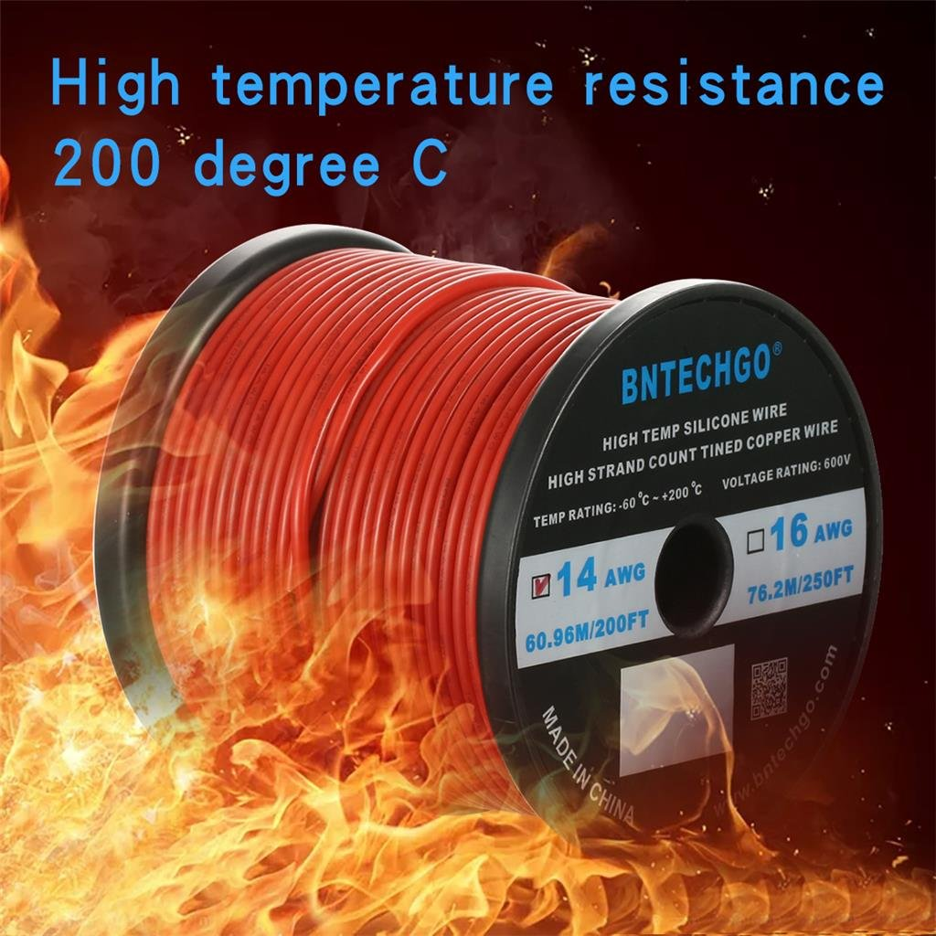 BNTECHGO 14 Gauge Silicone Wire Spool Red 200 feet Ultra Flexible High Temp 200 deg C 600V 14 AWG Silicone Rubber Wire 400 Strands of Tinned Copper Wire Stranded Wire for Model Battery Low Impedance
