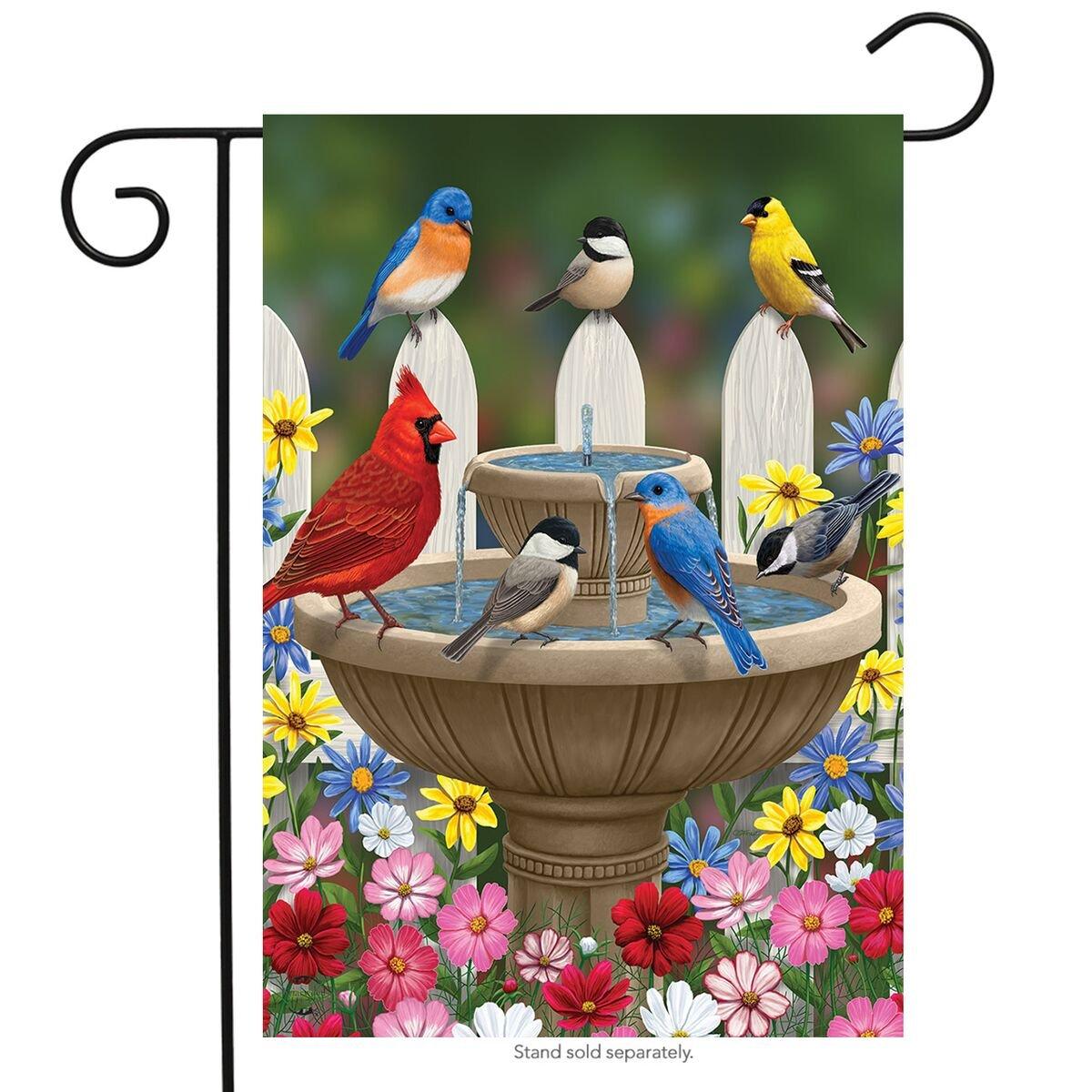 "Briarwood Lane Birdbath Gathering Spring Garden Flag Floral Birds 12.5"" x 18"""