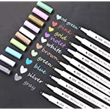 Metallic Marker Pens Set For Card Making and DIY Photo Album,Set of 10 Assorted Brilliant Colors Metallic Pens for for Birthday Greeting Gift Rock Art Painting Kids Doodling Graphic Drawing Manga