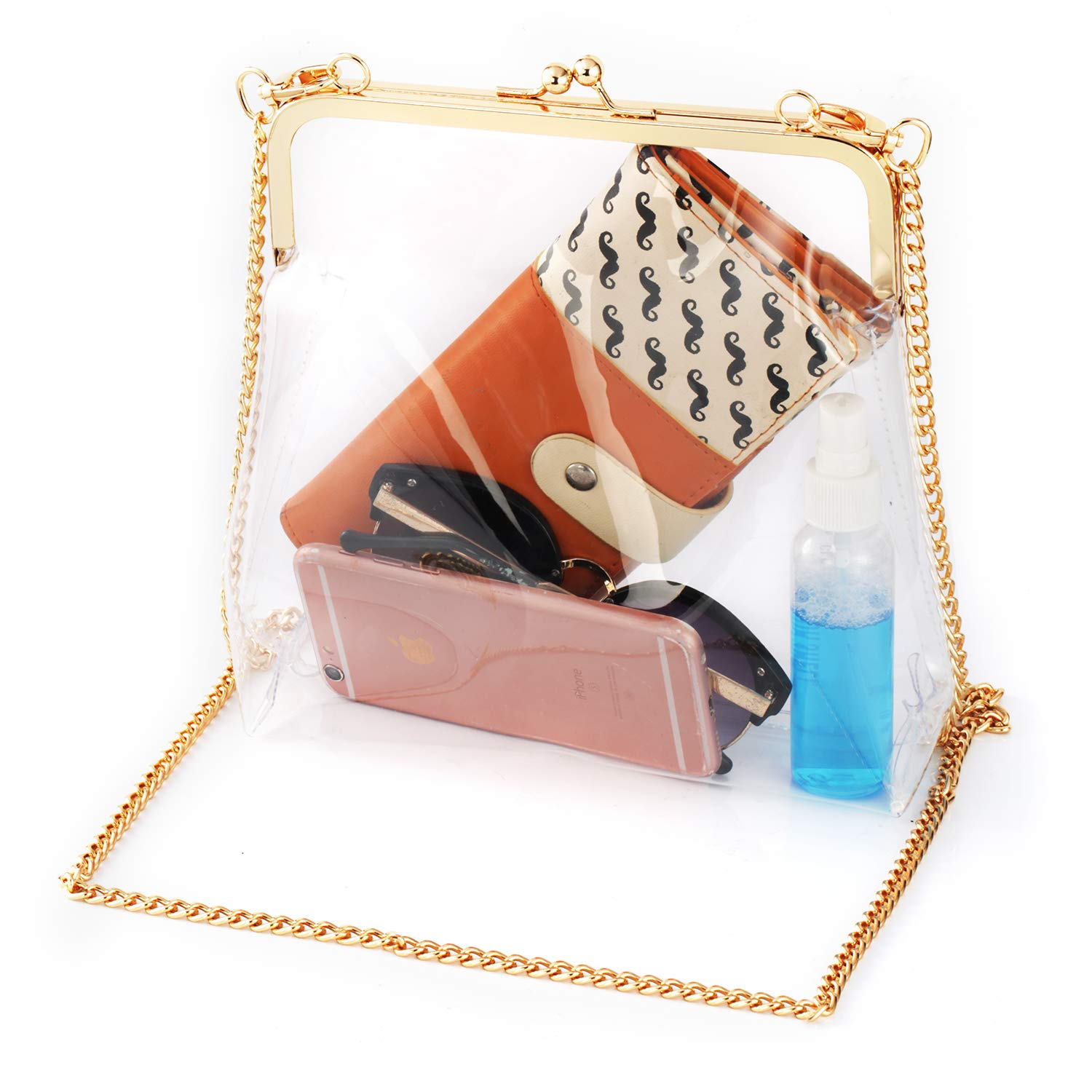 MOETYANG Womens Transparent Clutch Clear Purse Crossbody Shoulder Bags with Removable Golden Chain Strap NFL/&PGA Stadium Approved Bags