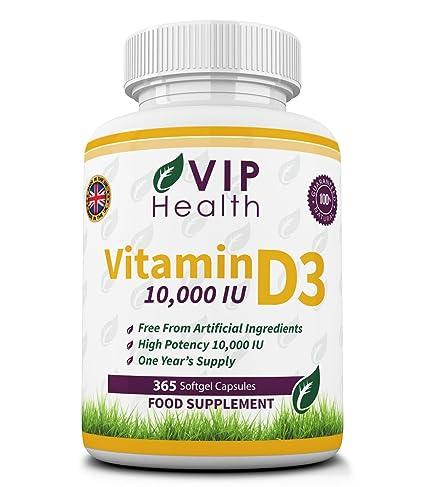 Vitamina D3 10.000 IU 365 Cápsulas (suministro para el año completo) por VIP Health