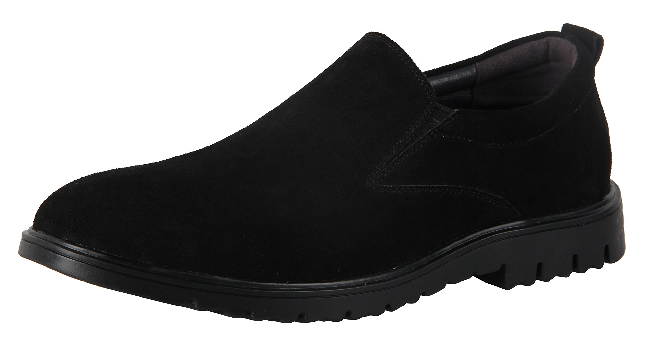 iLoveSIA Men's Suede Leather Casual Slip-ONS Walking Loafer Shoe Black US 8.5