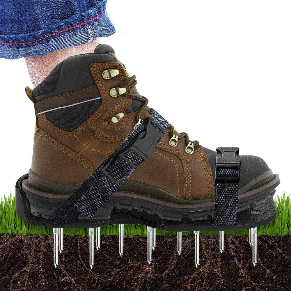 Scuddles Lawn Shoes NEW 2019 - 3 Straps Heavy Duty Spike Aerating Sandals for SOI - Airators for Lawns - Outdoor Aerator - Lawn Airrators Shoes - Yard Aireators by scuddles