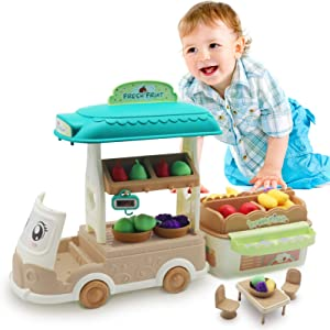Food Truck for Kids Fruit Stand Basket Mini Shopping Cart Pretend Play Grocery Store Playset Multifunction Fruit Scale Toy Birthday Gift for Girls and Boys Ages 3,4,5 Years Old and Up