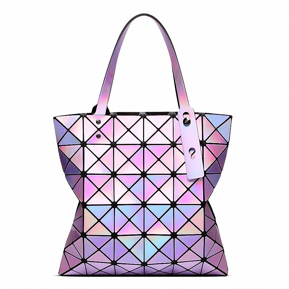 Famous Brands Women Laser Bright BaoBao Tote Lady Geometry Diamond Lattice Sequins Fold Over Pearl Bao Bao Bag Hologram Handbags silver: Handbags: Amazon. ...