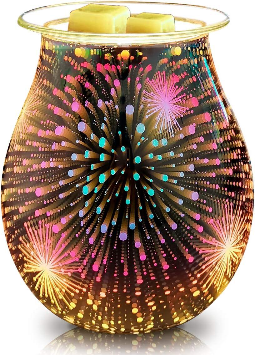 Bobolyn Glass Electric Oil Burner Wax Melt Burner Warmer Melter Fragrance Oil Burner for Home Office Bedroom Living Room Gifts (3D Fireworks) (3D Stars)