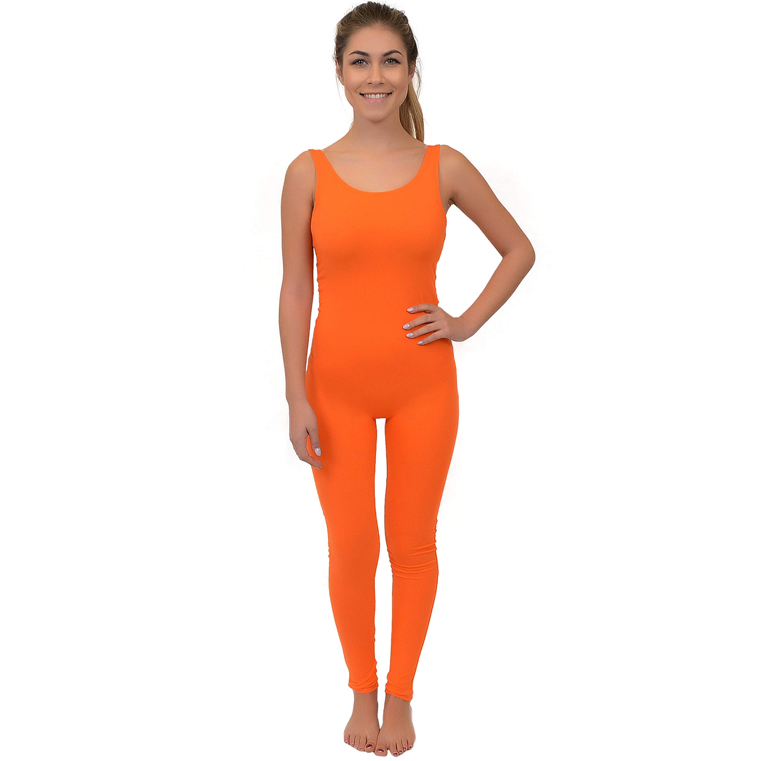 Stretch is Comfort Women's Comfortable Cotton Tank Unitard Orange 3X by Stretch is Comfort