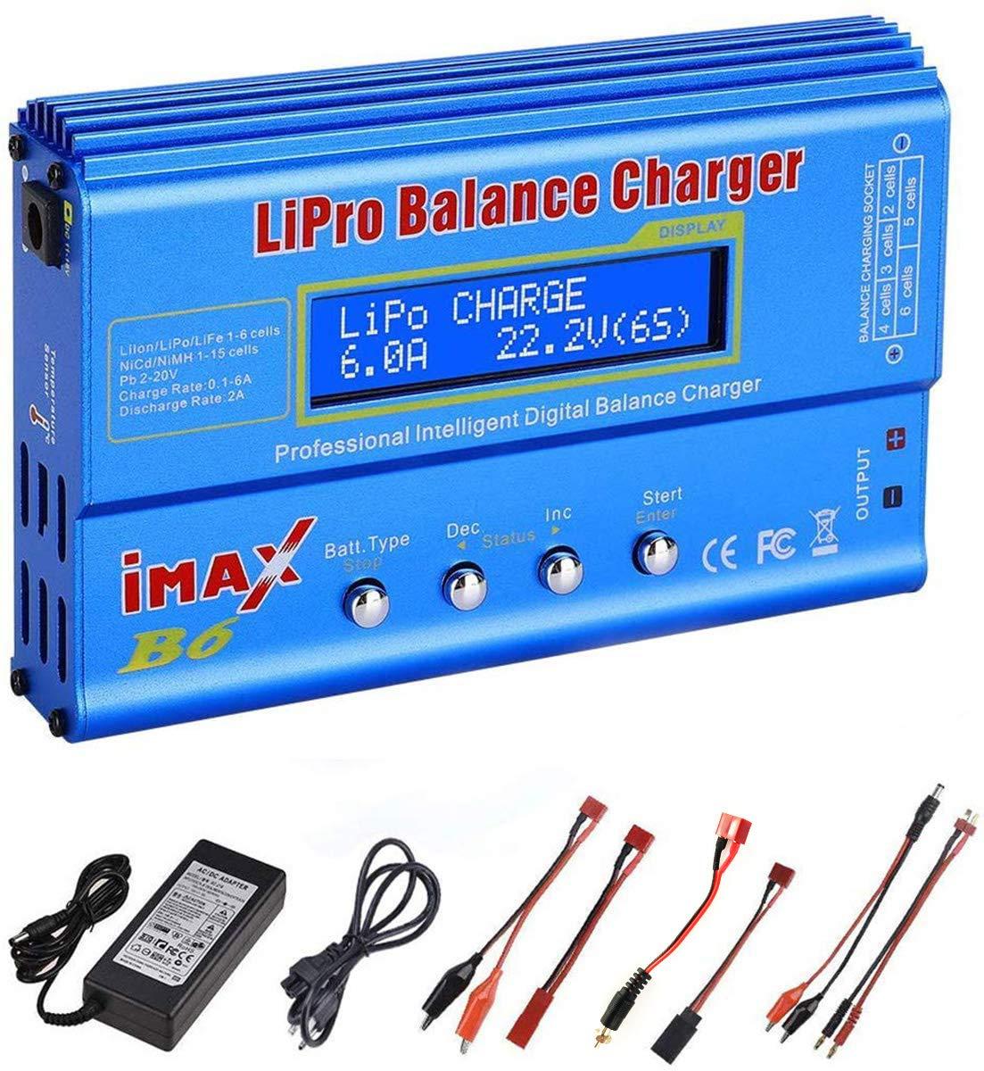 Cargador de batería Lipo, RUIZHI 80W6A Lipo Batería Balance Charger Descargador para LiPo/Li-ion/Life Battery (1-6S),NiMH/NiCd (1-15S), Rc Hobby Battery Balance Charger LED W/AC Power Adapte