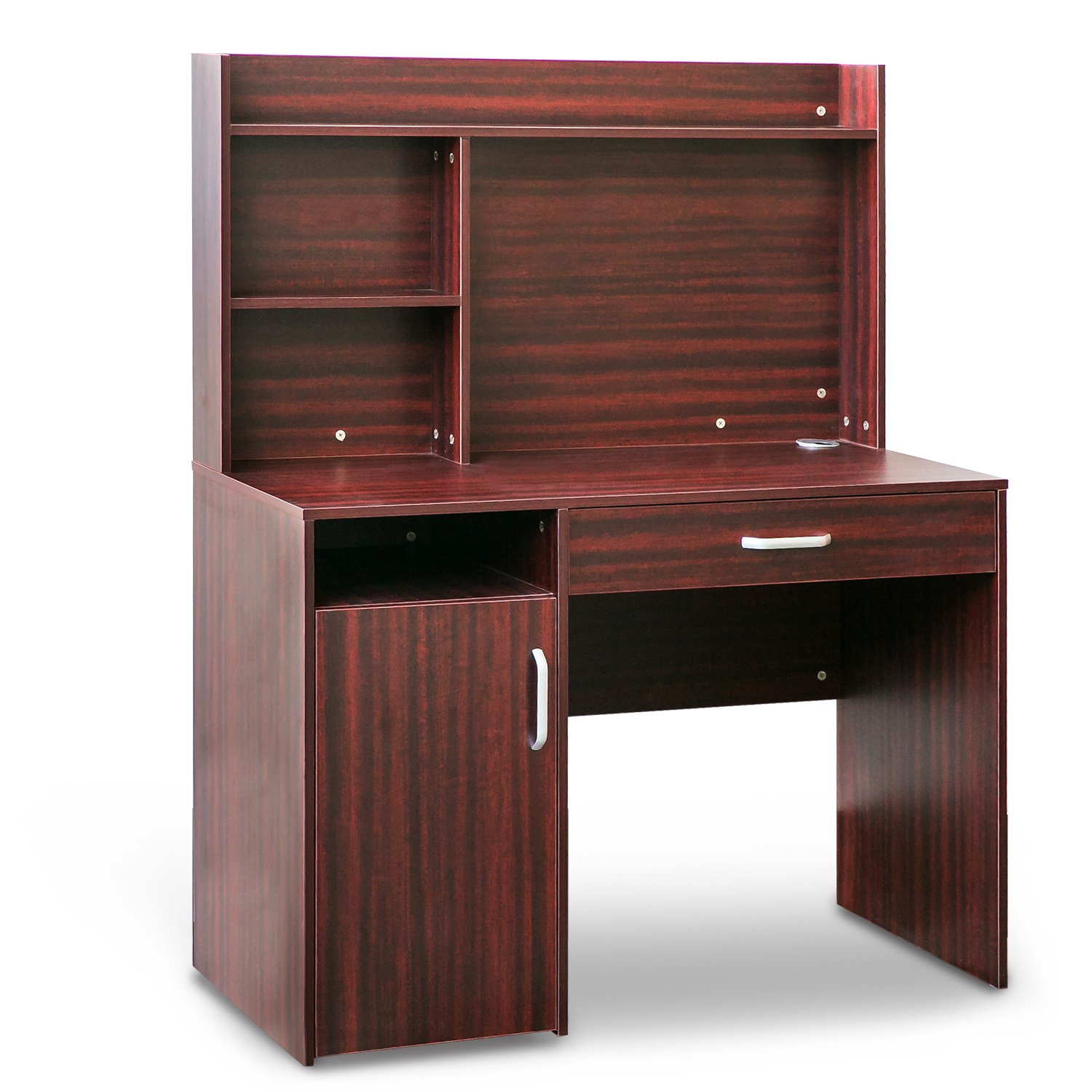 Merax Home Office Computer Desk with Hutch and Bookshelves (Reddish Brown)