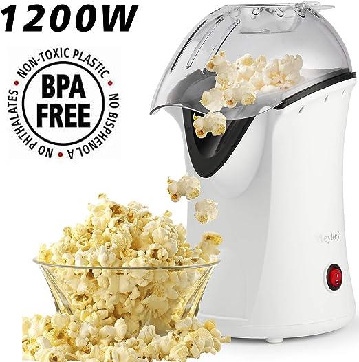 Homdox Máquina eléctrica de palomitas de maíz de aire caliente, 1200 W, palomitas de maíz con tapa extraíble para uso doméstico, no necesita aceite, ideal para niños (blanco/1200 W): Amazon.es: Hogar
