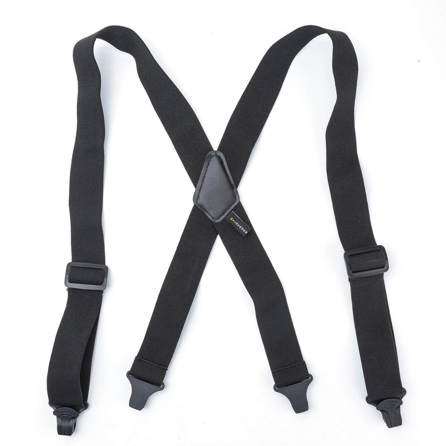 """Airport Friendly X Back Black Suspenders Plastic Clip 1.5/"""" Wide Made In USA"""