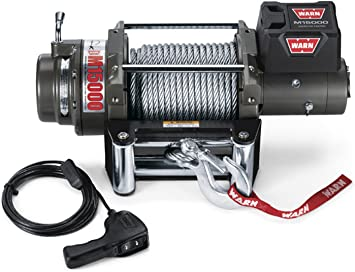 Amazon Com Warn 47801 M15000 Series Electric 12v Heavyweight Winch With Steel Cable Wire Rope 7 16 Diameter X 90 Length 7 5 Ton 15 000 Lb Pulling Capacity Automotive