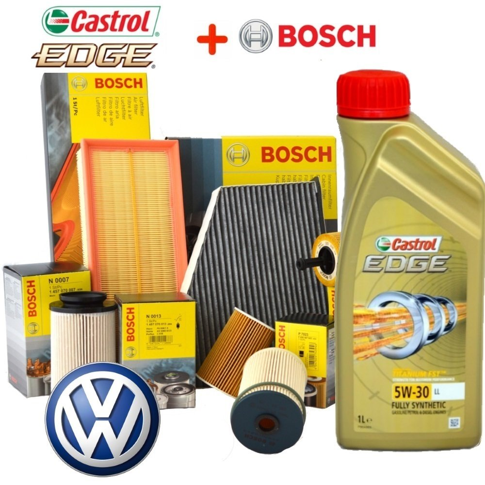 Kit Tagliando 4 Filtri BOSCH + 5LT olio CASTROL EDGE 5W30