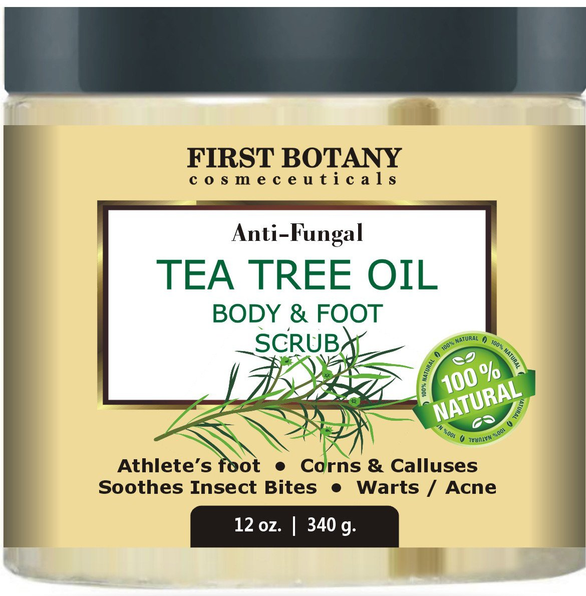 100% Natural Anti Fungal Tea Tree Oil Body & Foot Scrub 12 oz. with Dead Sea Salt – Best for Acne, Dandruff and Warts, Helps with Corns, Calluses, Athlete foot, Jock Itch & Body Odor