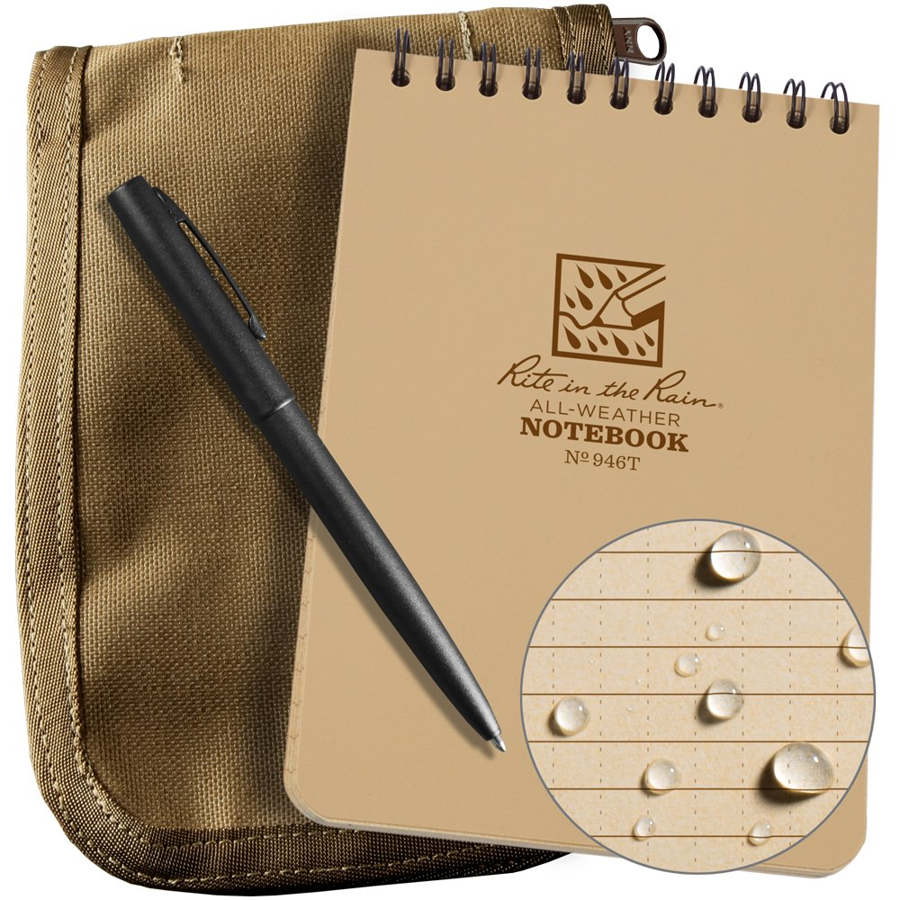 Rite in the Rain Weatherproof 4'' x 6'' Top-Spiral Notebook Kit: Tan CORDURA Fabric Cover, 4'' x 6'' Tan Notebook, and an Weatherproof Pen (No. 946T-KIT)