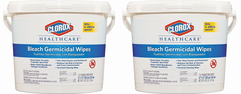 Amazon.com: Clorox Healthcare Bleach Germicidal Wipes, 110 Count Pail (30358): Industrial & Scientific