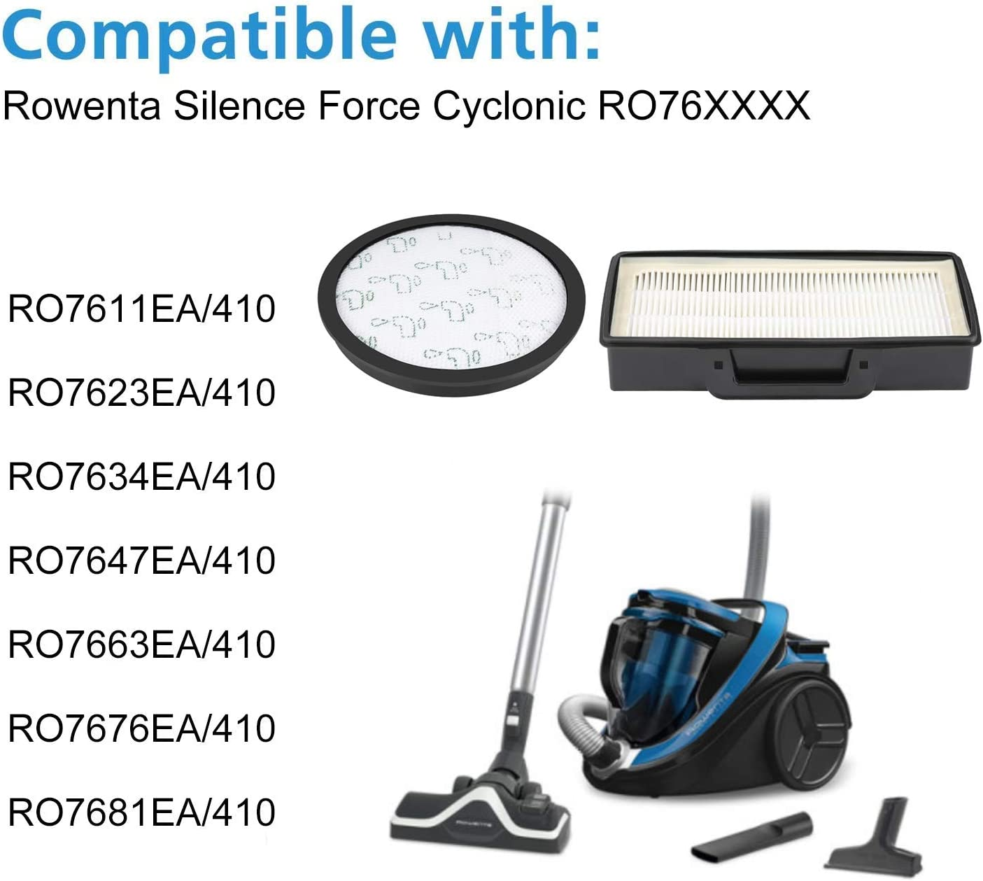 Isincer Paquete de 4 Kits 2 Caja de Filtro HEPA + 2 Esponjas Reemplazo de Filtro para Rowenta RO7611 RO7634 RO7623 Silence Force Aspiradora ciclónica, Comparar ZR903701: Amazon.es: Hogar