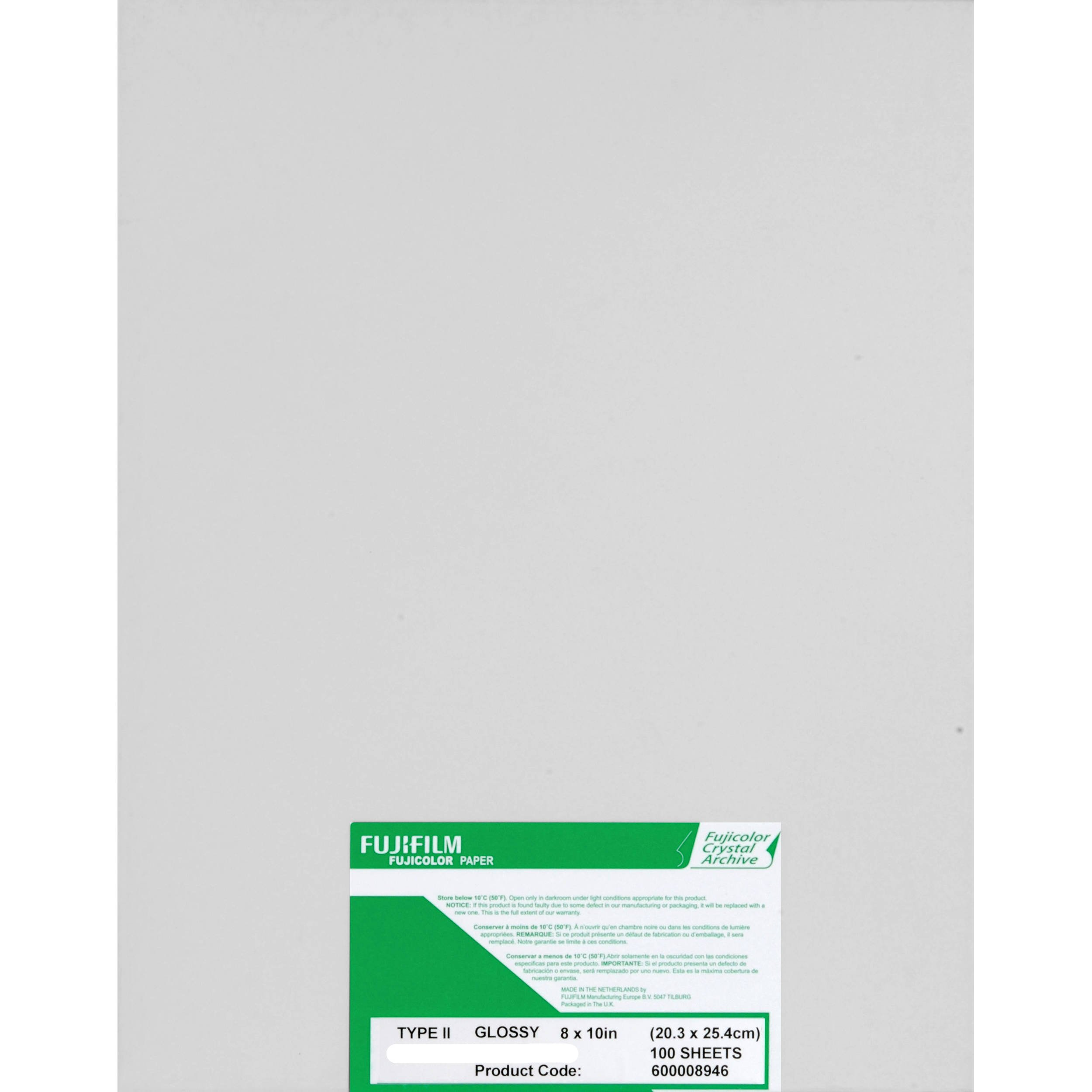 Fujifilm Fujicolor Crystal Archive Super Type-II Color Enlarging Paper - 8x10'' - 100 Sheets - Glossy Surface.