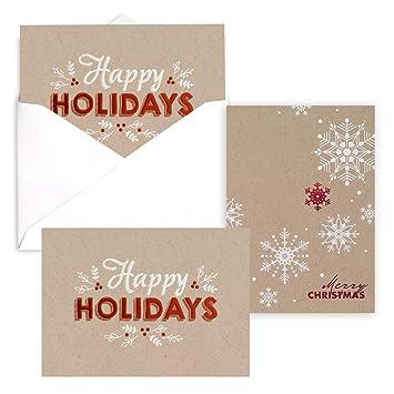 Corporate Christmas Cards.Amazon Com Kraft Holiday Greetings Christmas Card Pack