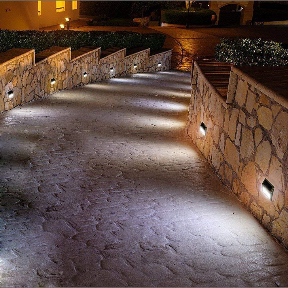 ELECCTV 6 Pack Solar Step Lights 3 LED Solar Powered Stair Lights Outdoor Lighting for Steps Paths Patio Decks Waterproof