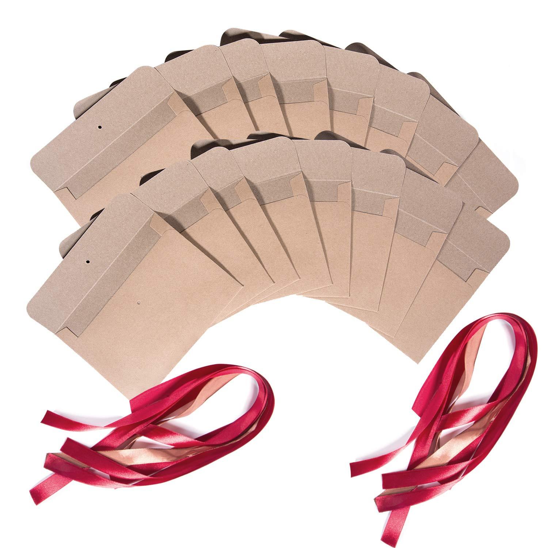 Marrone - Nastro marrone 17.2 x 12.5 cm Wolintek 30 pezzi Busta Kraft Busta di carta Kraft riciclata Buste di Retro Carta Fatti a Mano in stile Vintage per Matrimonio Compleanno