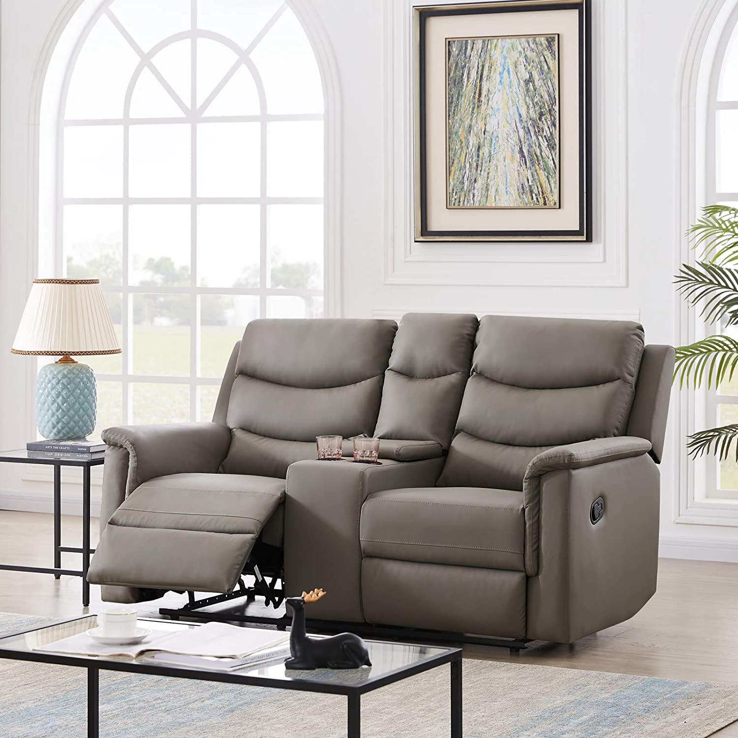 Pannow Double Recliner Loveseat with Console Slate, Double Reclining Sofa with Cup Holder, 2-Seater with Flipped Middle BACKREST Black PU, Theater Seating Furniture Sofa Bed, Gray PU