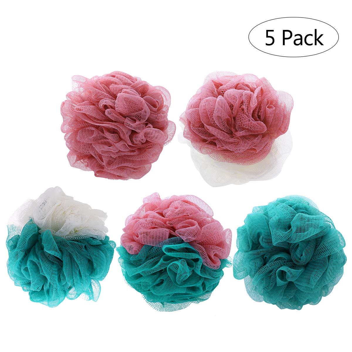 Frcolor Loofah Bath Shower Sponge Pouf, Mesh Pouf Shower Ball Mesh Bath Sponge Large Size (5 Pack)