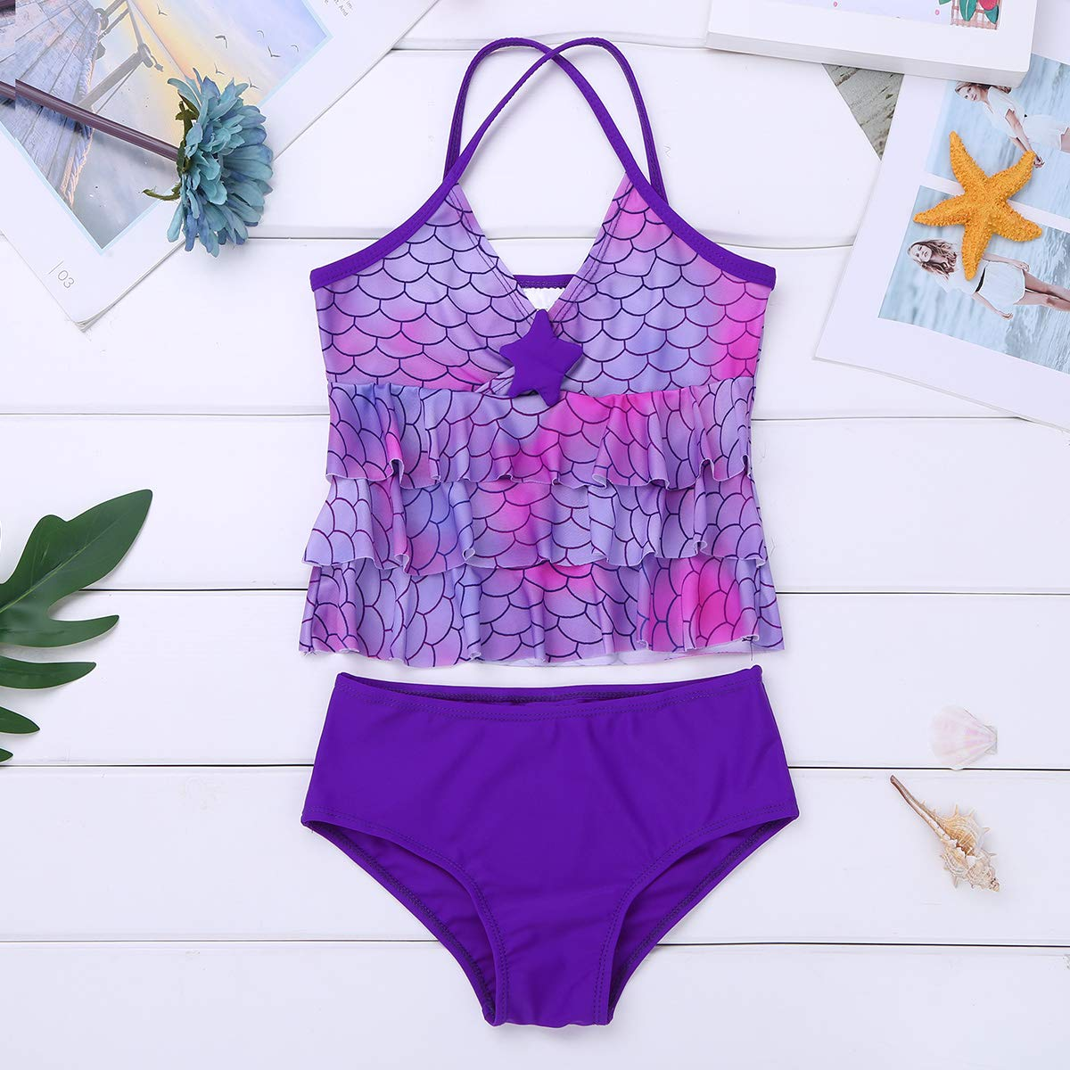 ranrann Girls Two-Piece Tankini Mermaid Scales Printed Starfish Tank with Bottoms Set Swimsuit