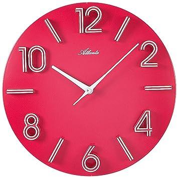 Atlanta Design Wanduhr Modern Mit Großen Zahlen, Wand Zimmeruhr In Pink  Rosa   Kräftige Farbe