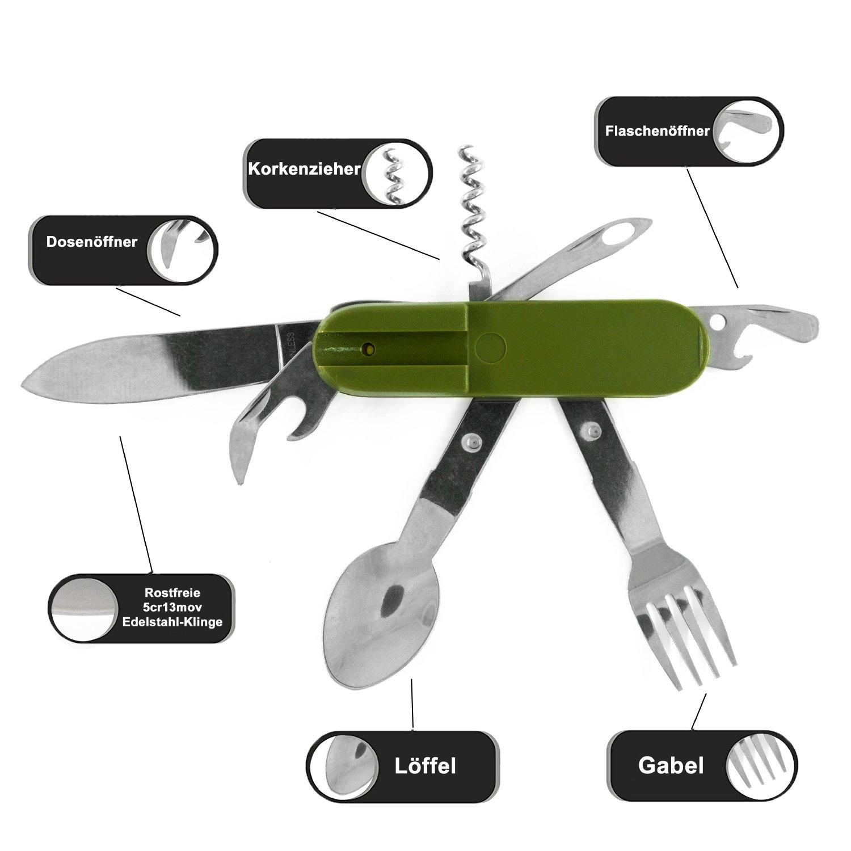 BearCraft Cubiertos Camping | 7 en 1 cuchillo plegable multifuncional con tenedor y cuchara de cuchillo | Cubiertos para acampar de viaje Outdoor Survival ...
