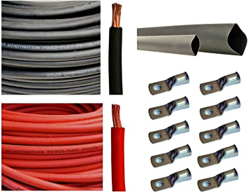 """1 Pair 7ft//84/"""" 2 Gauge//2 AWG//#2 Battery Cables w// 3//8/"""" Tinned Copper Lugs"""