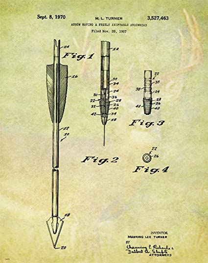 Amazon.com: Bow Arrow Archery Hunting Patent Poster Art Print ...