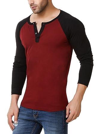 639b6e18e04 Urbano Fashion Men s Maroon Full Sleeve Henley T-Shirt  Amazon.in ...