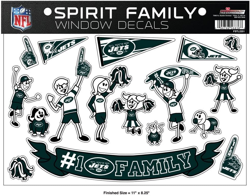 8.5 x 11-inches NFL New York Jets Spirit Family Decal Sheet