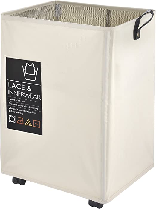 """Caroeas Rolling Laundry Cart, 22"""" Pro Laundry Hamper Waterproof with Big Card Pocket & Leather Handle & Brake Square Laundry Basket Collapsible Laundry Bin Breathable Mesh Cover (Pro 22"""",Beige)"""