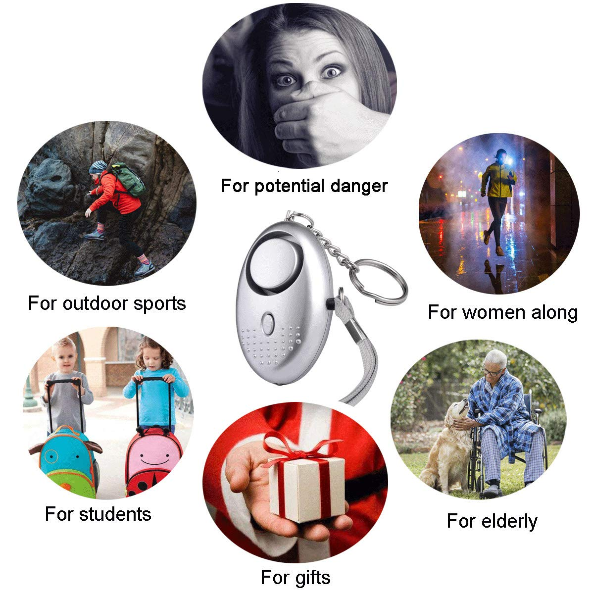 FansArriche 3 PACK Personal Alarm Keychain with Flashlight Personal Protection Devices for Women Girls,Kids and Elderly