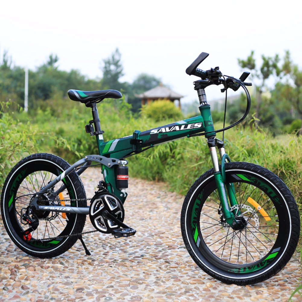 子供用折りたたみ自転車, 学生折りたたみ自転車 軽量 マウンテン バイク ショックアブソーバー 21 速度 折りたたみ自転車 B07DK9YJ4B 20inch|緑 緑 20inch