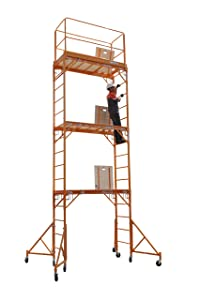 CBM Scaffold Rolling Tower Standing at 17' High with Hatch Deck Guard Rail and U Lock Brace CBM1290