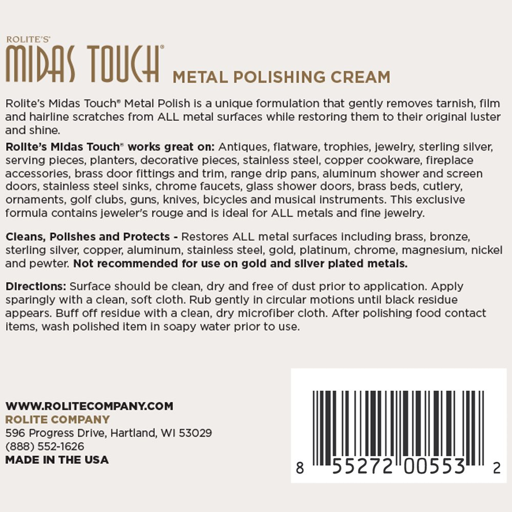 Rolite's Midas Touch Metal Polishing Cream (2lb) with Jewelers Rouge for Gold, Brass, Copper, Bronze, Platinum, Pewter, Sterling Silver 6 Pack by Rolite Company (Image #2)
