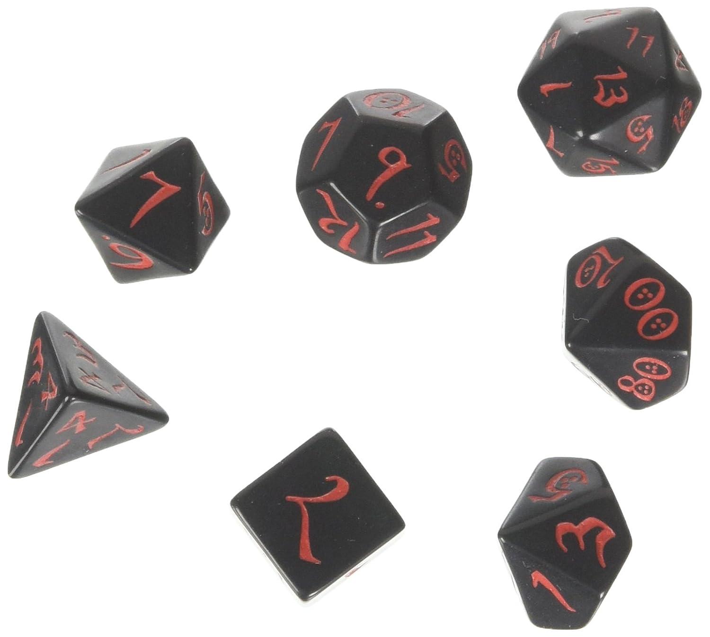 Q-Workshop QWOCLE06 Classic RPG Dice Set Black/Red (7), Mehrfarbig Pegasus Spiele