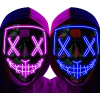 anroog Halloween Mask LED Light up Mask (2 Pack) Scary mask for Festival Cosplay Halloween Costume Masquerade Parties…