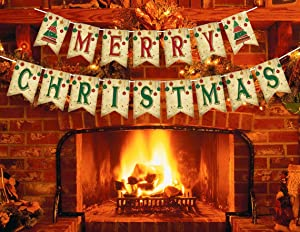 Merry Christmas Banner with Two Christmas Tree Flags - Xmas Decorations Indoor for Home Office Party Fireplace Mantle