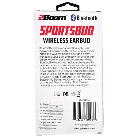 Amazon com: 2BOOM Sportsbud Wireless Bluetooth Rechargeable Earbud
