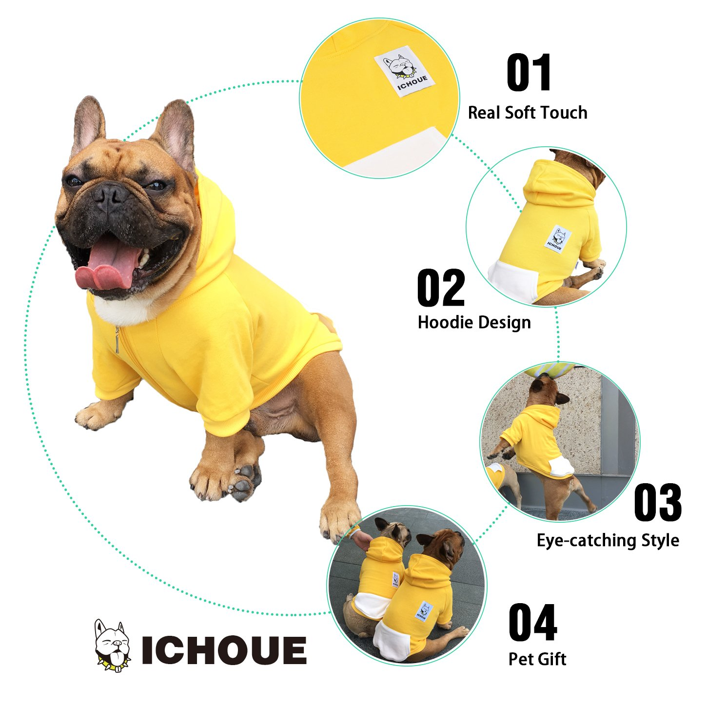 iChoue Pets Dog Clothes Hoodie Hooded French Bulldog Costume Pullover Cotton Winter Warm Coat Puppy Corgi Clothing - Yellow/Size M by iChoue (Image #5)
